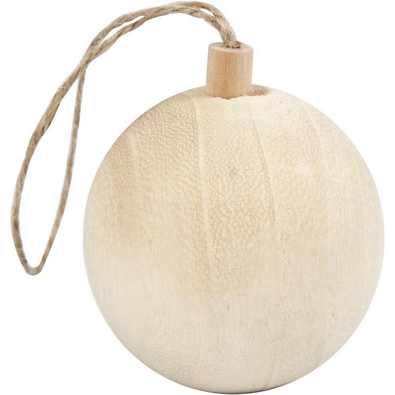 Kerstboom decoratie bal van licht hout 6,4 cm