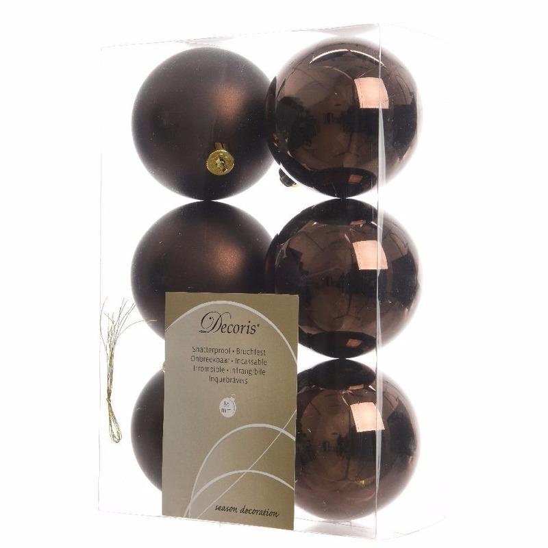 Kerstboomversiering bruine ballen 8 cm