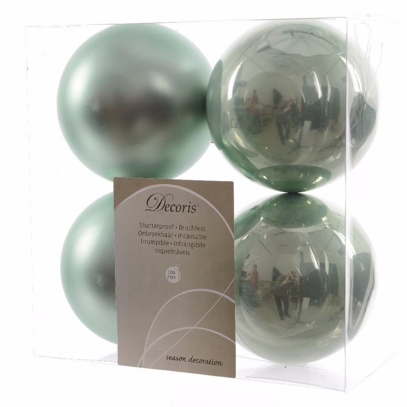 Kerstboomversiering mint groene ballen 10 cm