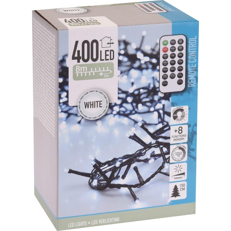 Kerstverlichting afstandsbediening helder wit buiten 400 lampjes