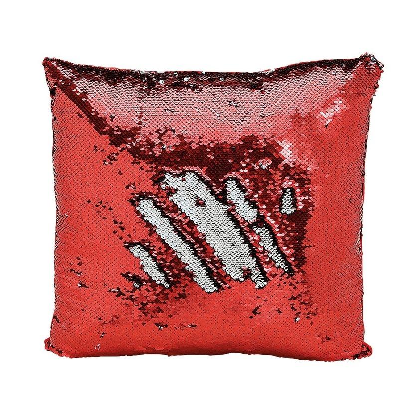 Kussen rood metallic met pailletten 40 x 40 cm