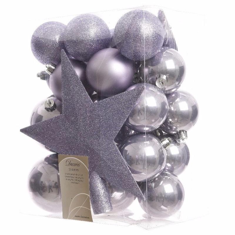 Lila kerstballen set inclusief piek