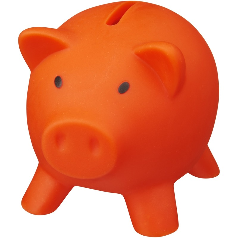 Mini spaarvarken-spaarpot oranje 9 cm