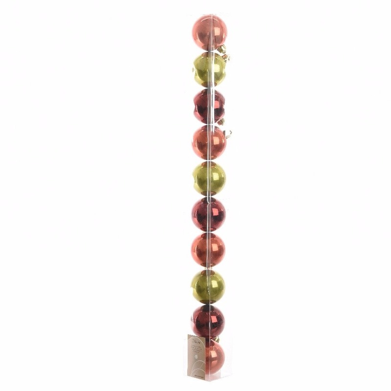 Mix plastic kerstballen pakket groen-rood glanzend