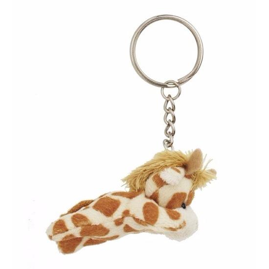 Pluche giraffe knuffels sleutelhangers 6 cm