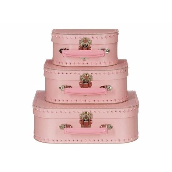 Poppen koffertje licht roze 16 cm