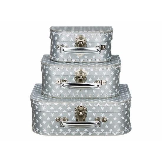 Poppen koffertje zilver sterren 16 cm