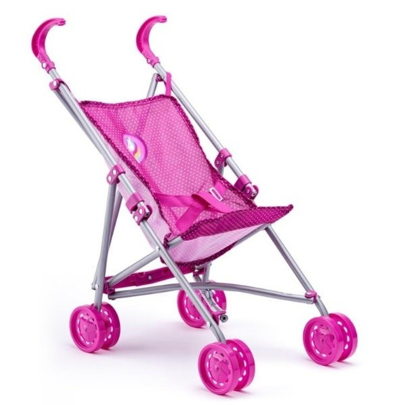 Roze poppen buggy met eenhoorn