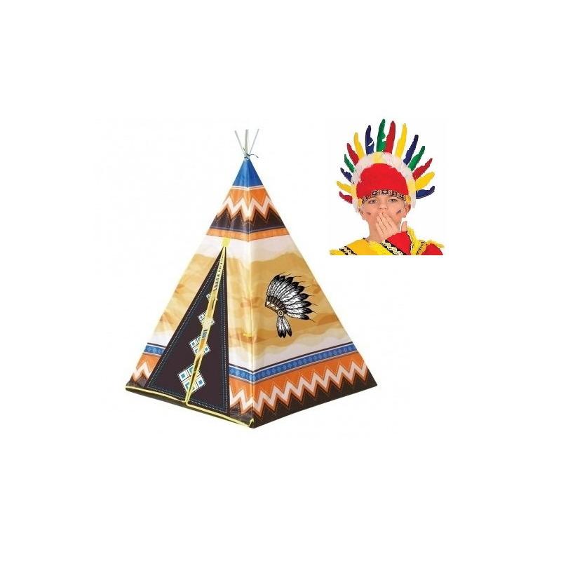 Speelgoed indianen wigwam tipi tent 130 cm met kinder indianentooi