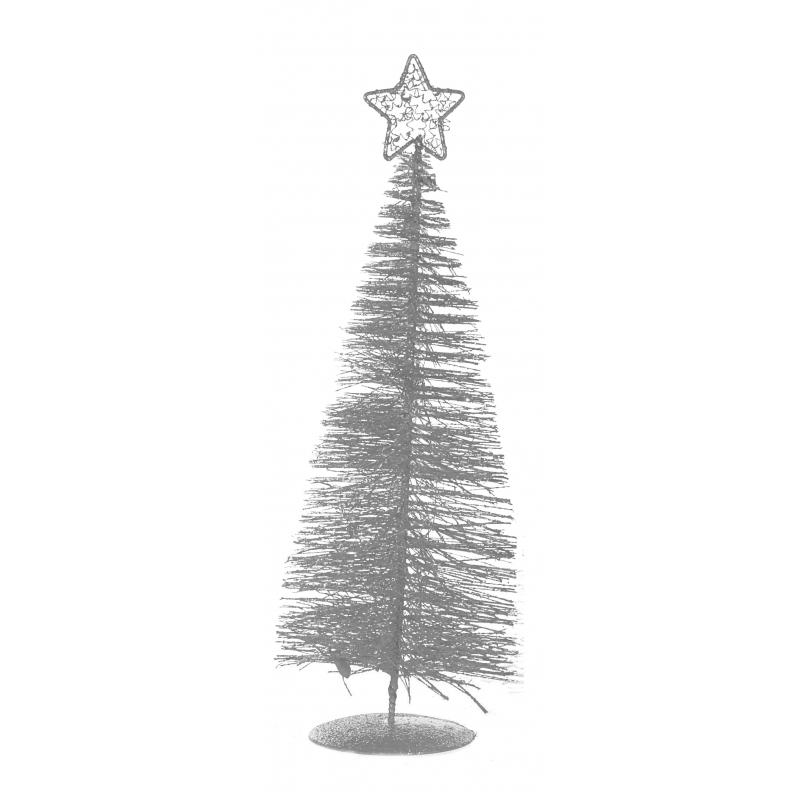 Tafel kerstboompje zilver 21 cm