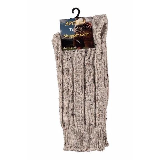 Tiroler kousen-sokken beige voor volwassenen