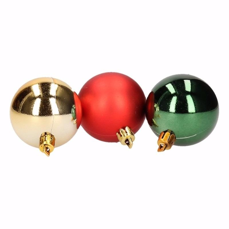 Traditional Christmas mix kerstballen pakket groen glans en rood mat