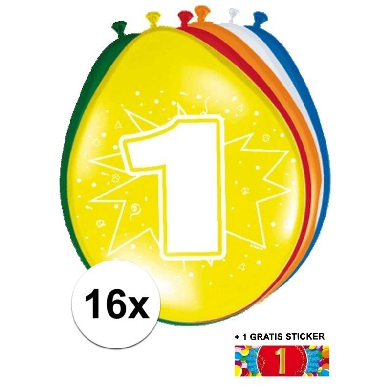 Versiering 1 jaar ballonnen 30 cm 16x + sticker