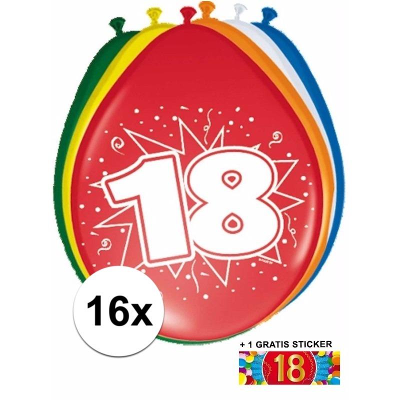 Versiering 18 jaar ballonnen 30 cm 16x + sticker