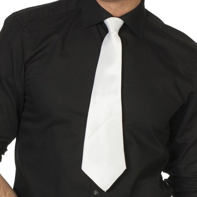 Witte gangster stropdas 41 cm verkleedaccessoire dames-heren