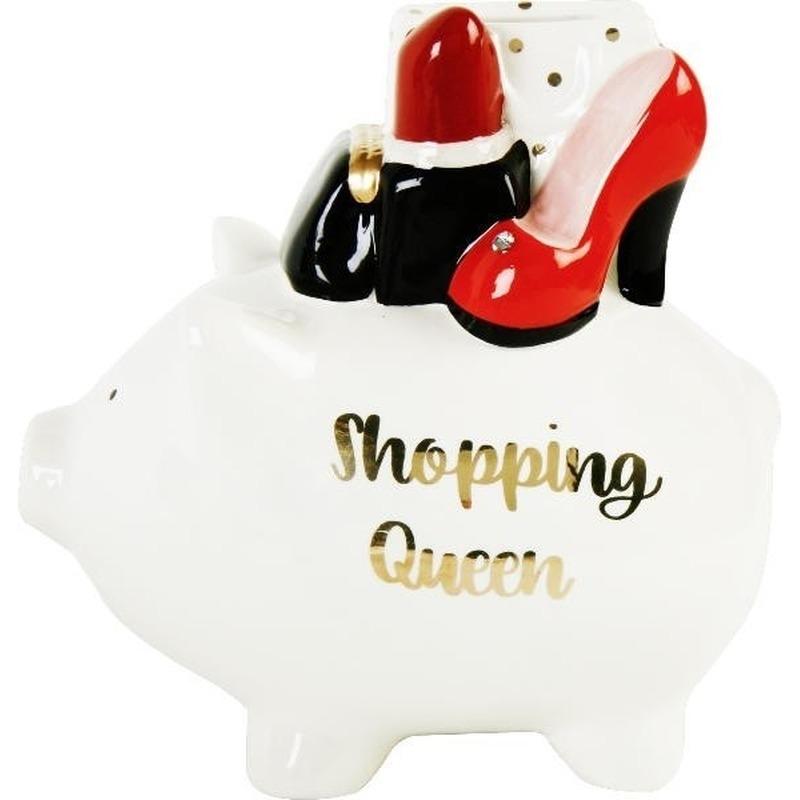 Witte spaarpot-spaarvarken shopping queen 17 cm