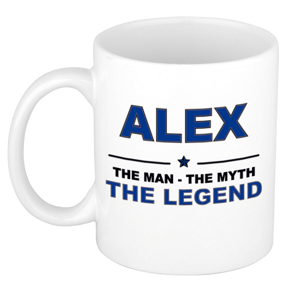 Alex The man, The myth the legend collega kado mokken-bekers 300 ml