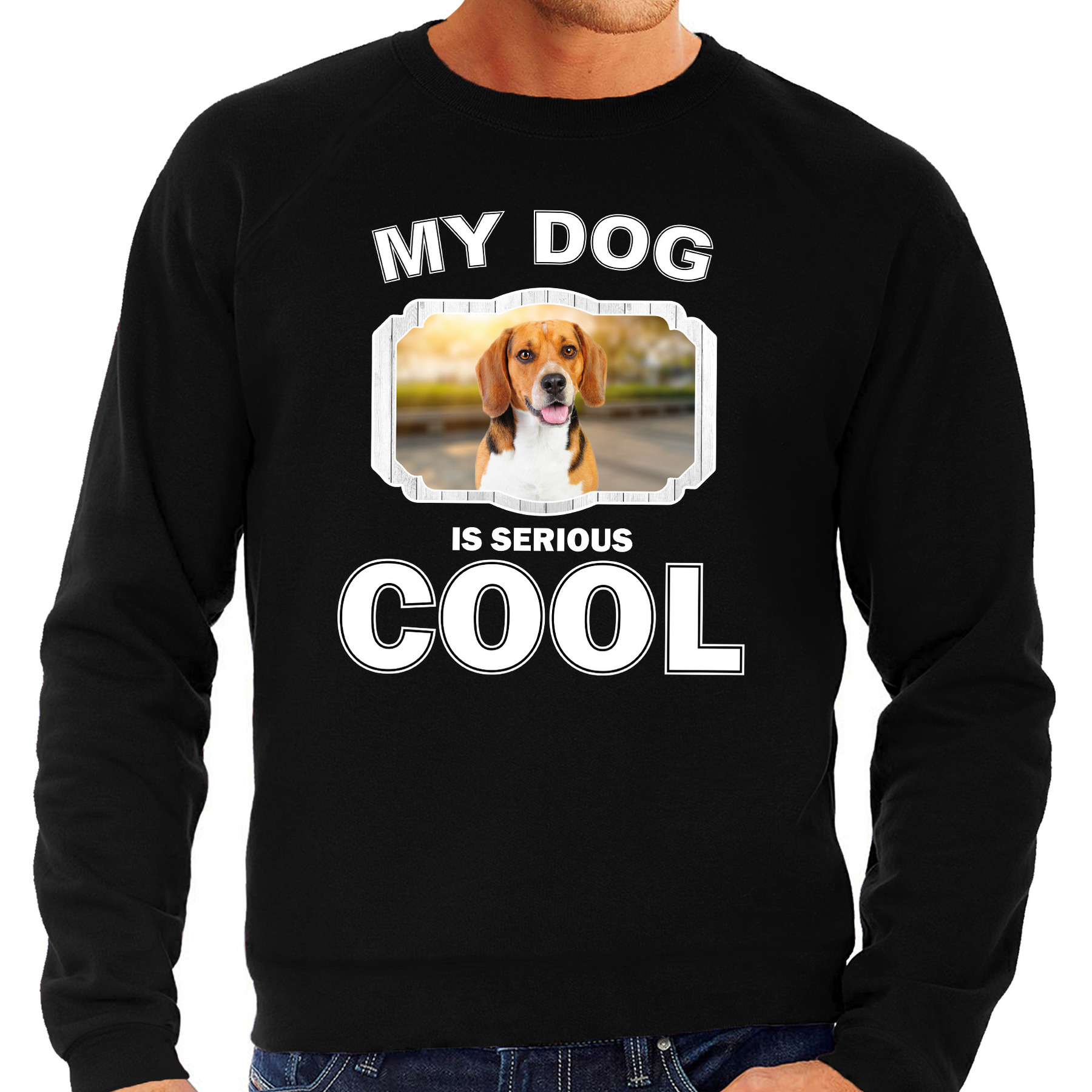 Beagle honden sweater - trui my dog is serious cool zwart voor heren