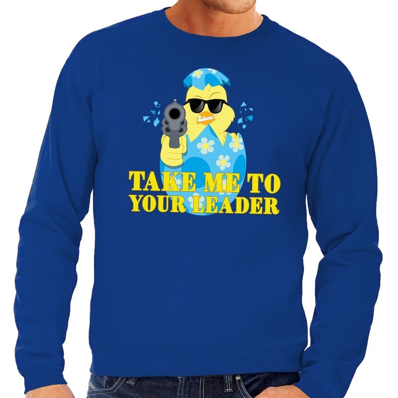 Fout paas sweater blauw take me to your leader voor heren