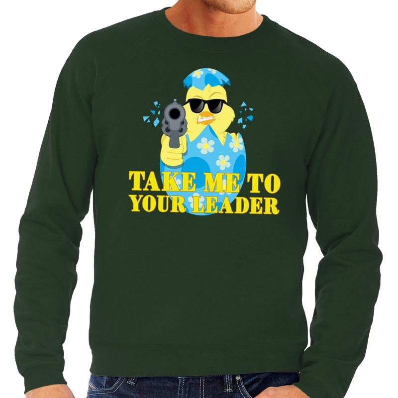 Fout paas sweater groen take me to your leader voor heren