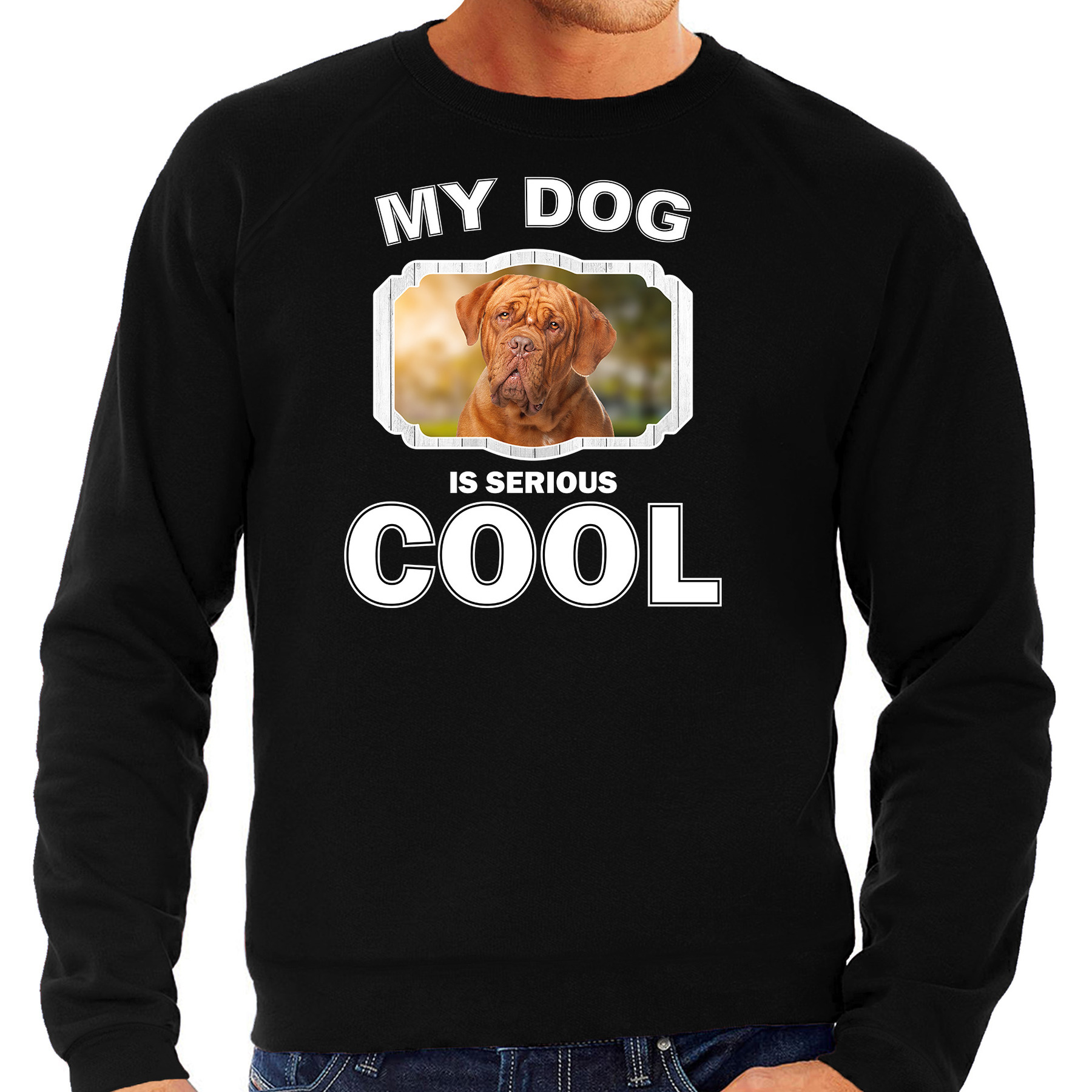 Franse mastiff honden sweater - trui my dog is serious cool zwart voor heren