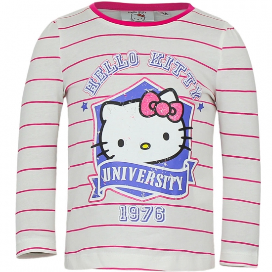 Hello Kitty t-shirt wit met roze