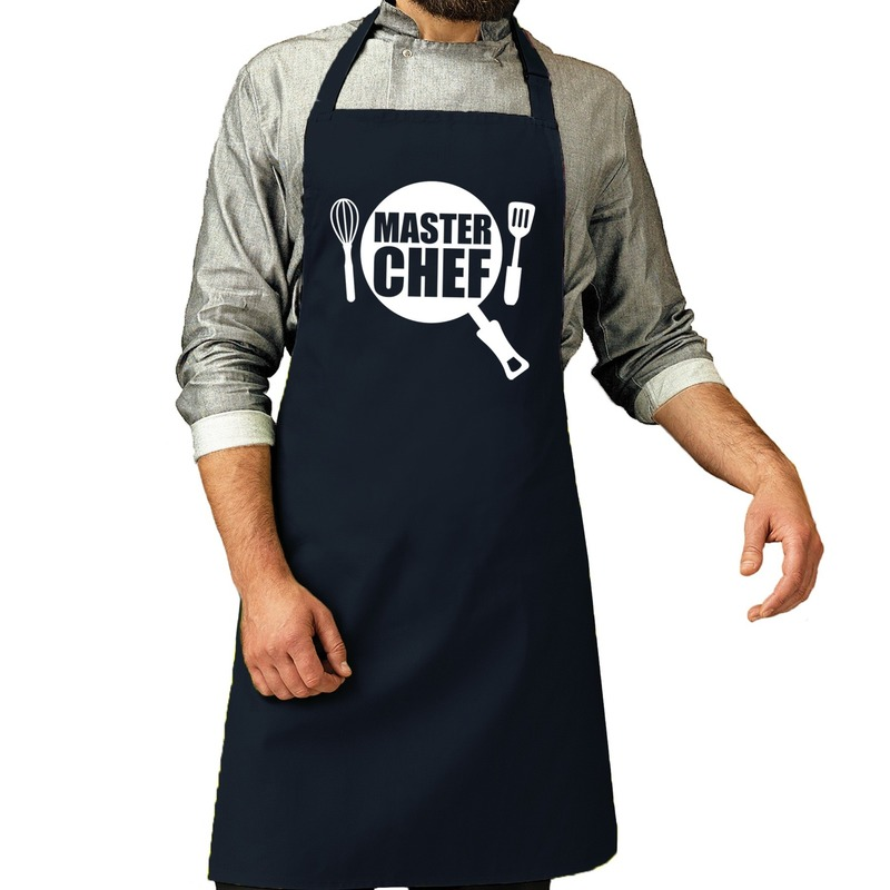 Master chef barbeque schort-keukenschort navy voor heren
