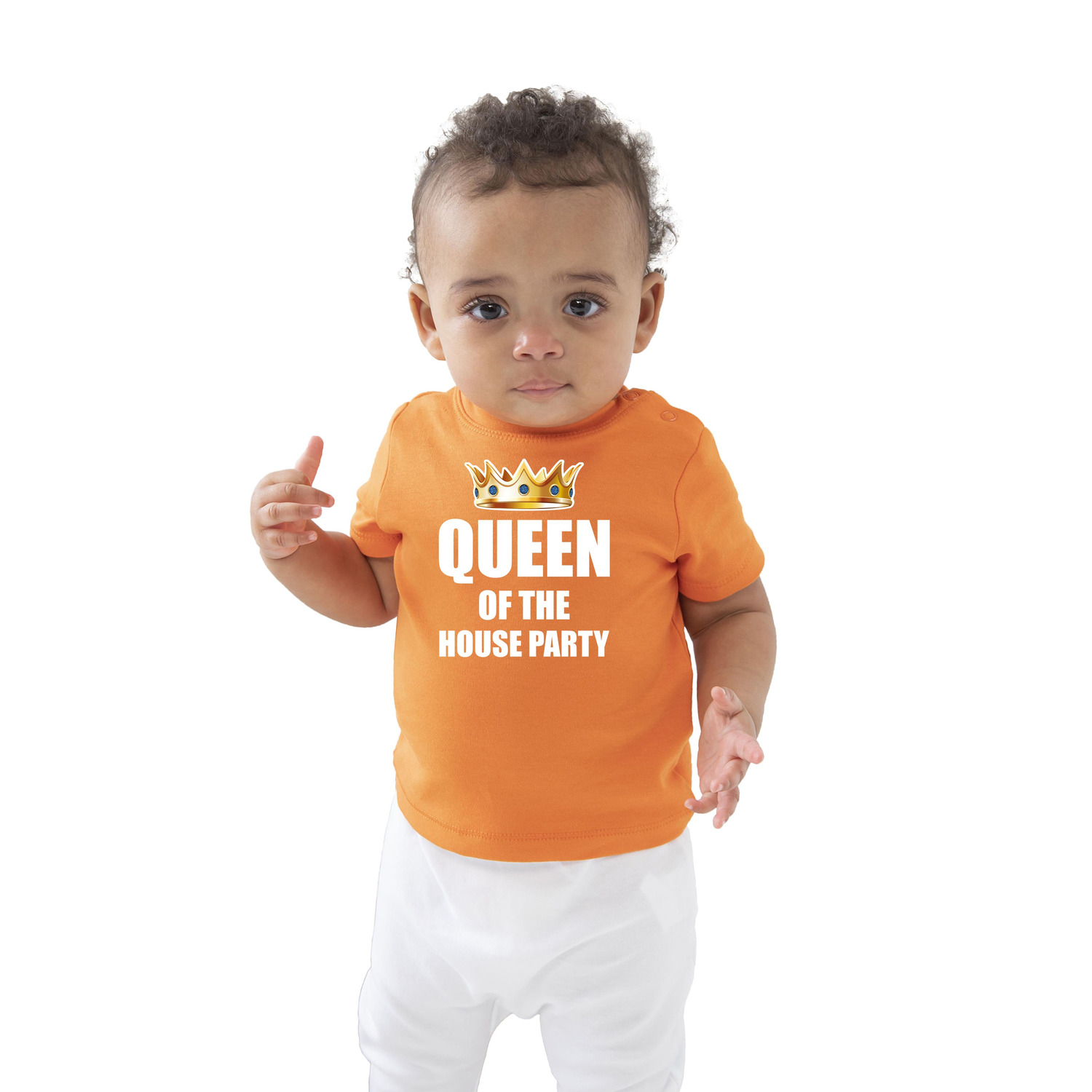 Queen of the house party met kroon Koningsdag t-shirt oranje baby-peuter voor meisjes