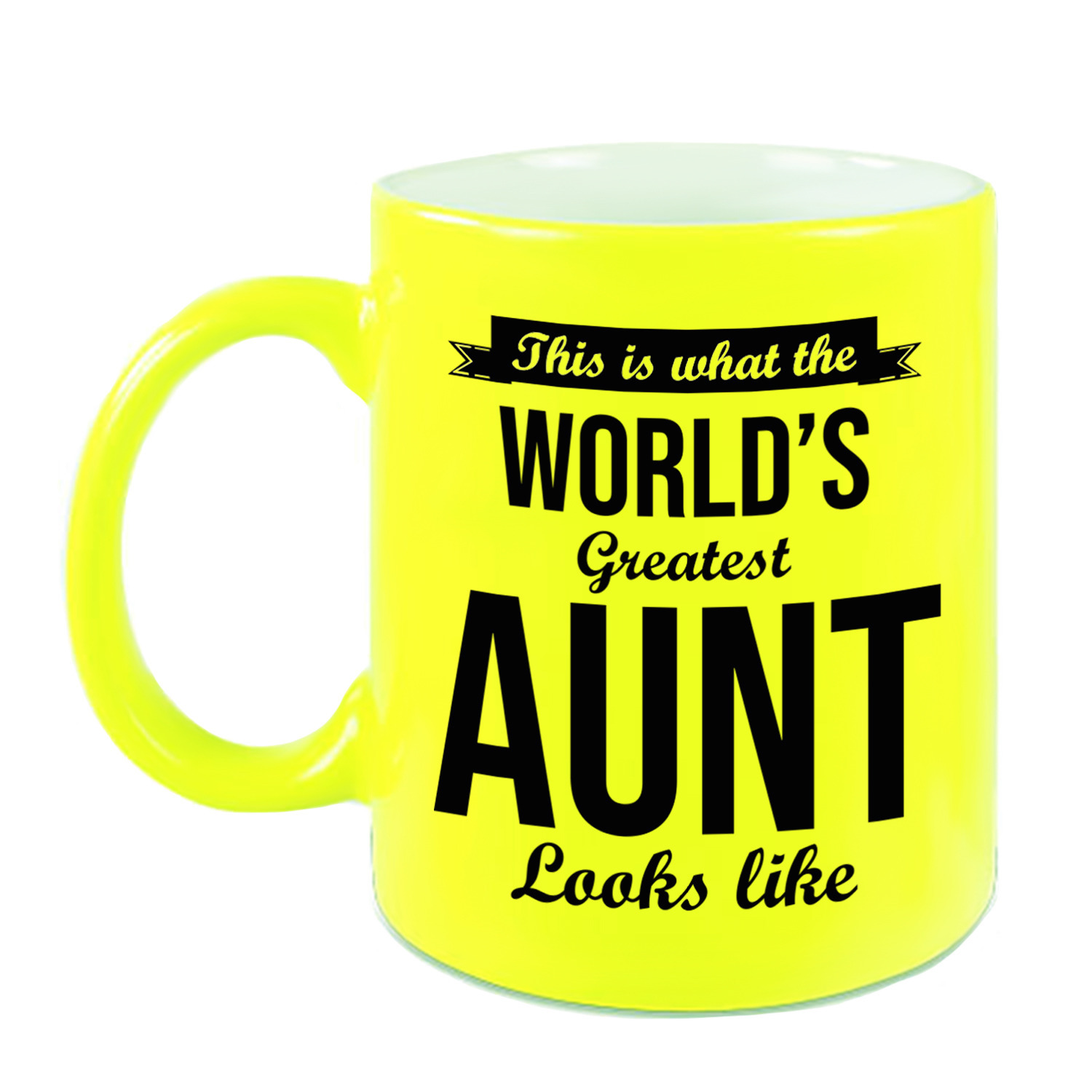 Tante cadeau mok-beker neon geel This is what the Worlds Greatest Aunt looks like